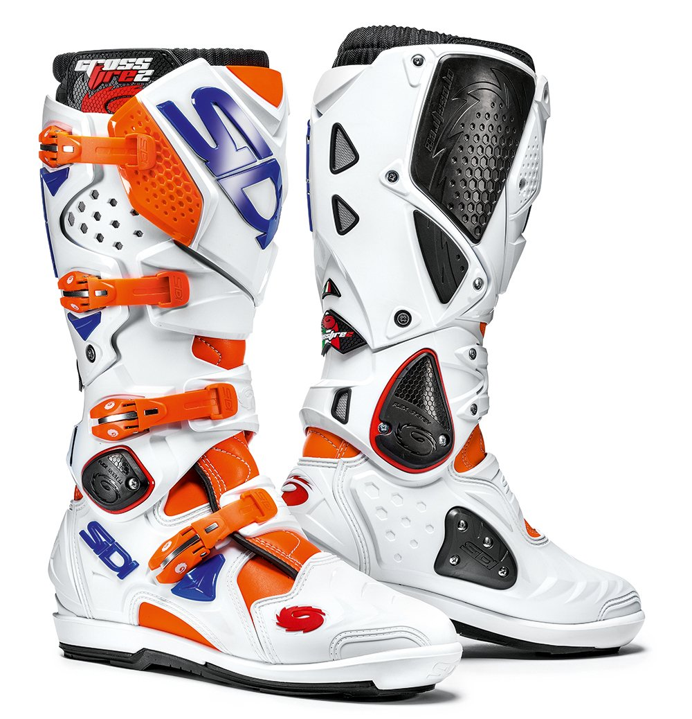 Orange Fluo//Blanc//Bleu 44 Sidi Sidi Crossfire 2 SRS Bottes de Moto