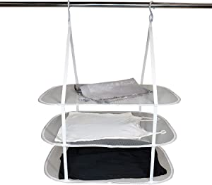 HOMZ Sweater/Delicates/Swimsuit Dryer, Surface, Grey, Set of 1 Hanging 3 Tier Drying Rack