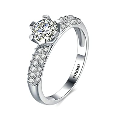 AnazoZ Gold Plated Cubic Zirconia Wedding Band Rings for Women Lab Created  Diamonds Silver Size N 5d8560233