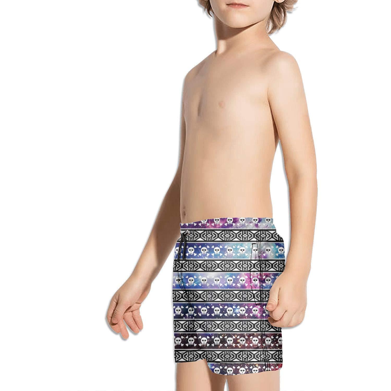 LKIMNJ Boys Boardshorts Cute Girly Skull Bow Pattern Quick Dry Bathing Suits Beach Board Shorts