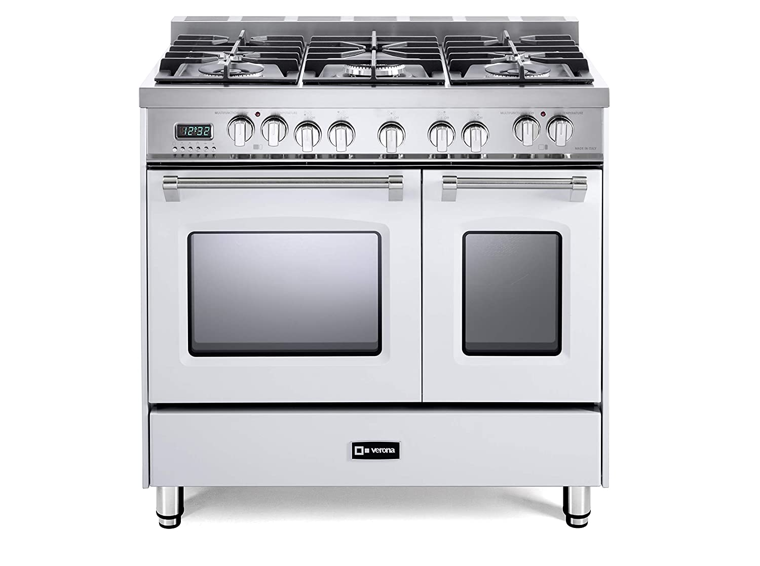 Verona Prestige VPFSGE365DW 36 inch. Dual Fuel Range 5 Sealed Burners Double Oven Convection Storage Drawer White