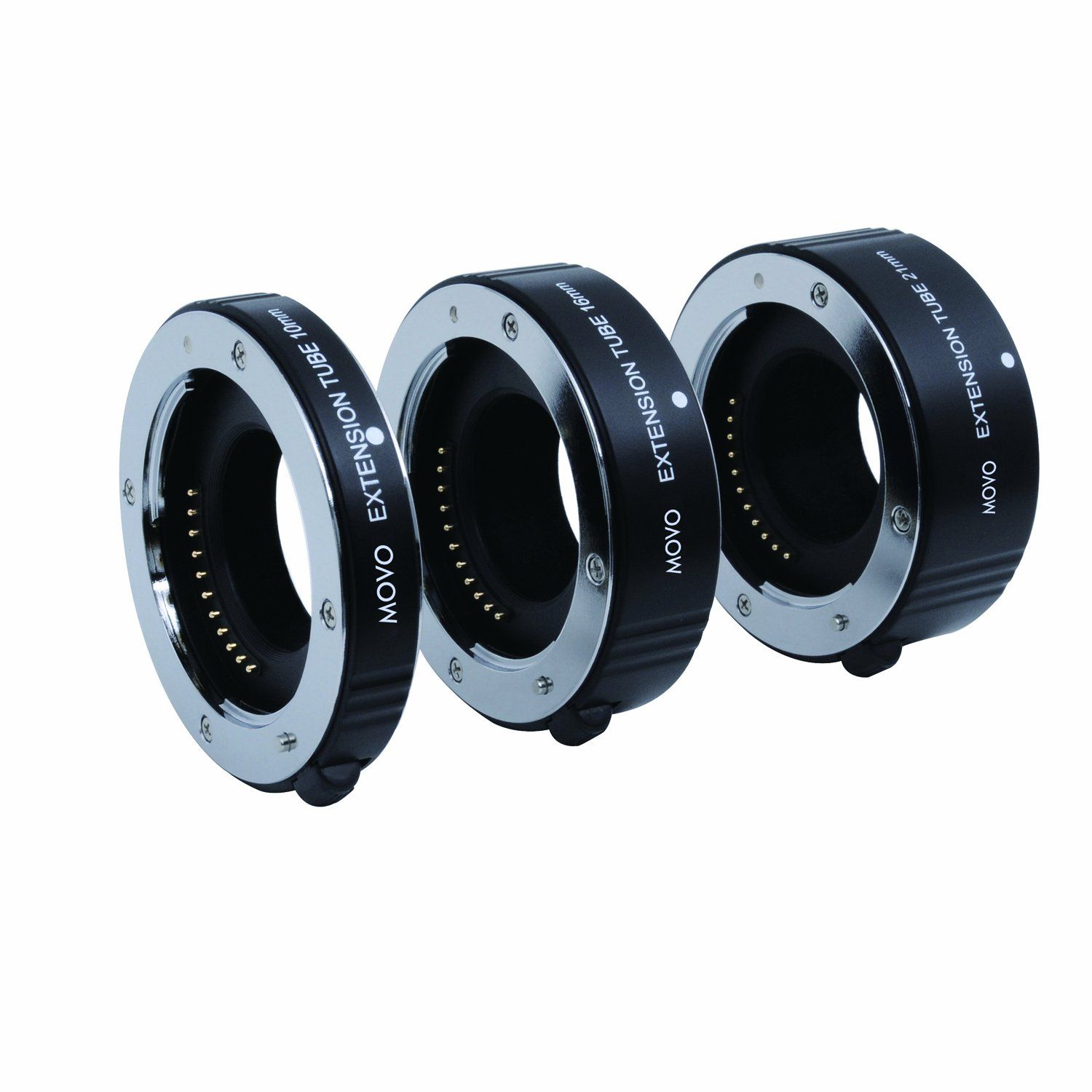 Movo Photo AF Macro Extension Tube Set for Micro 4/3 Mount Mirrorless Camera System (Compatible with Olympus PEN, Panasonic Lumix, Blackmagic Cinema Camera) with 10mm, 16mm & 21mm Tubes by Movo