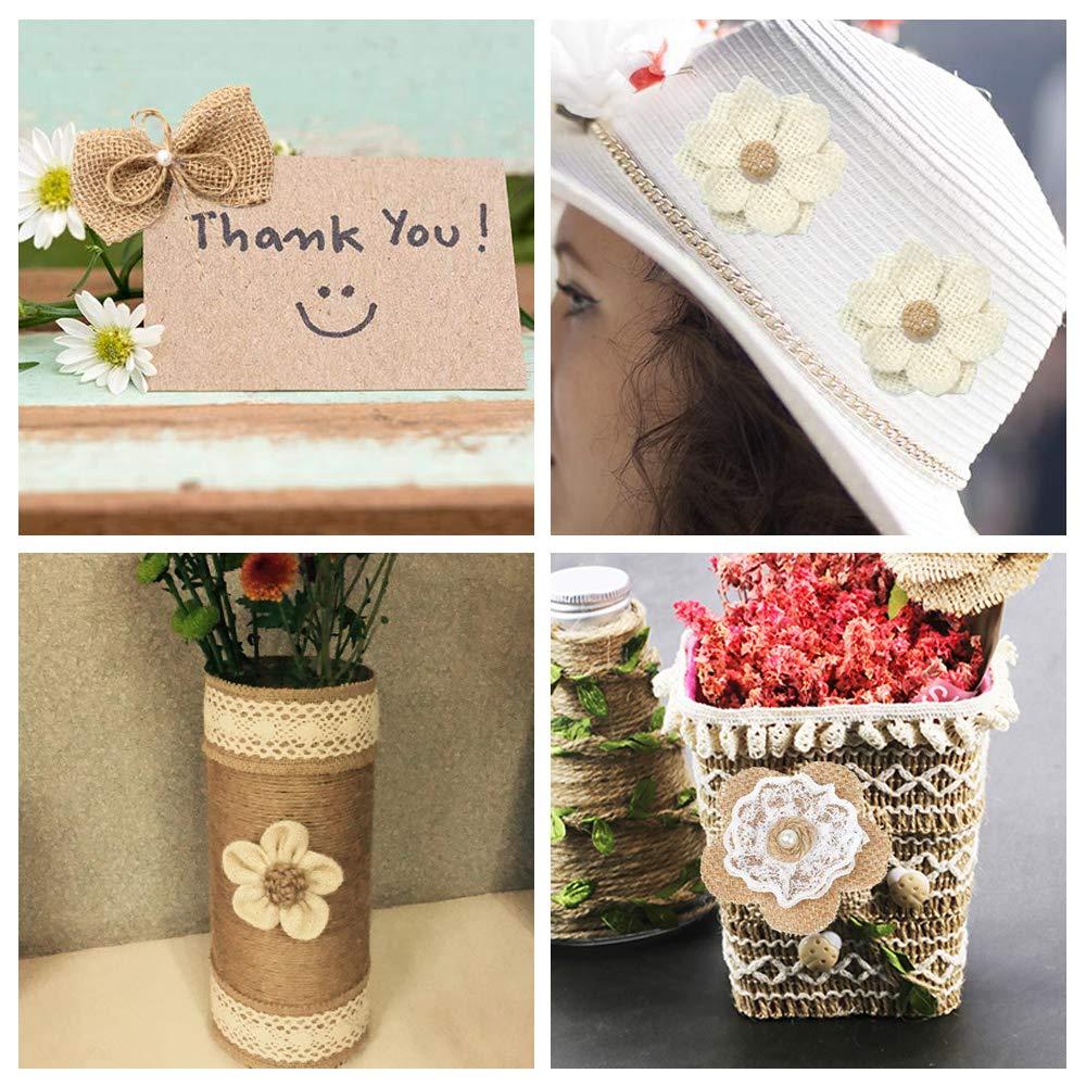 incluye 8 flores de arpillera r/ústicas hechas a mano y 1 rollo de cinta de cordel para decoraci/ón de boda o hogar Juego de 9 flores de arpillera natural Laribbons