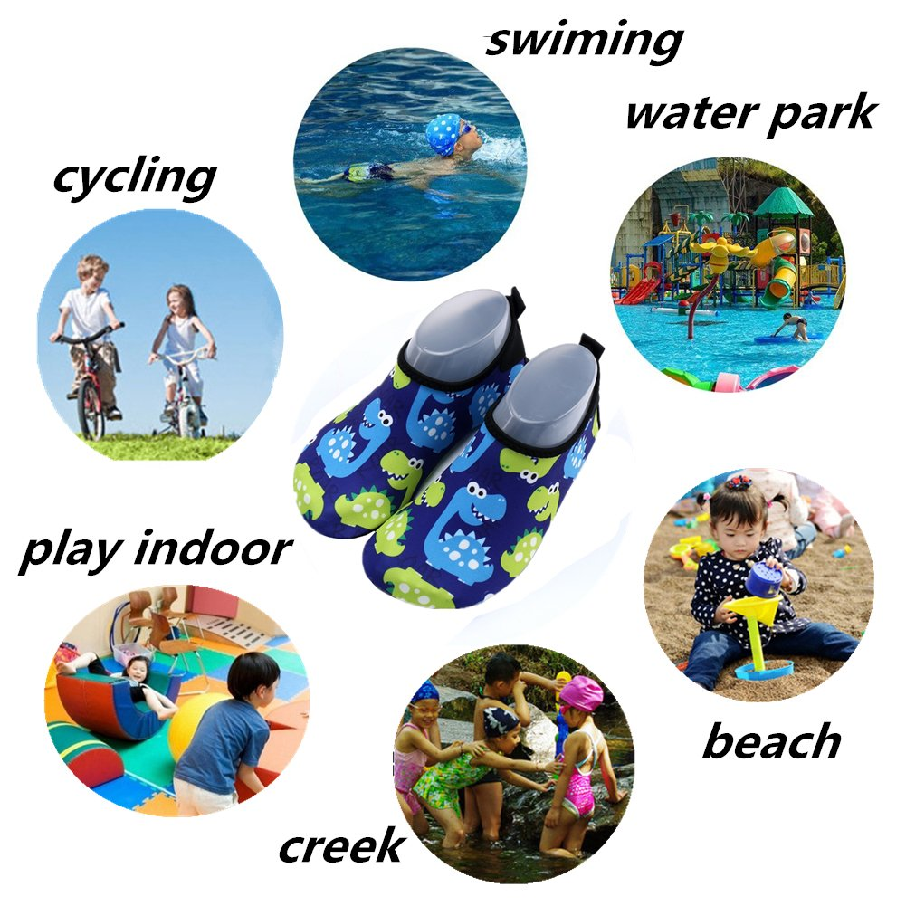 Kid Water Shoes Barefoot Swim Shoes for Girl Boy Anti-Slip Quick Dry Aqua Shoes Socks for Beach Pool Surfing Swimming