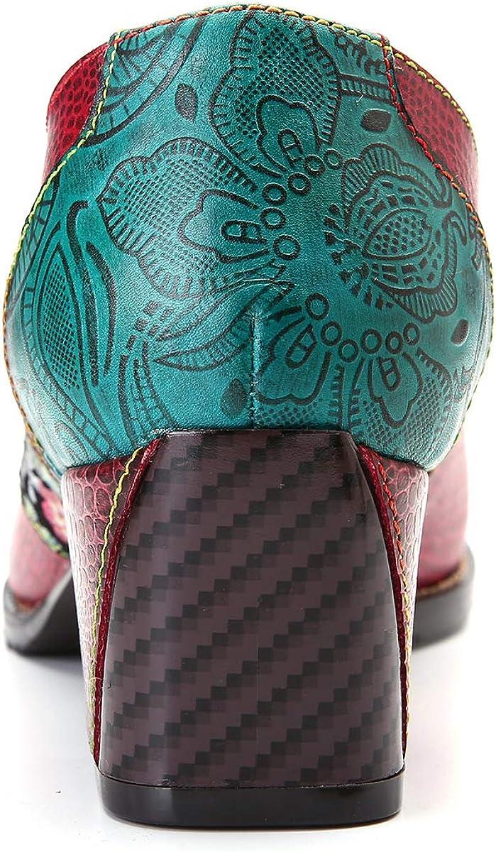 B07PP3TCTN CrazycatZ Womens Leather Pumps Block Heel Pumps Slip On Block Heel Splicing Pattern Shoes 716A8dmjDcL