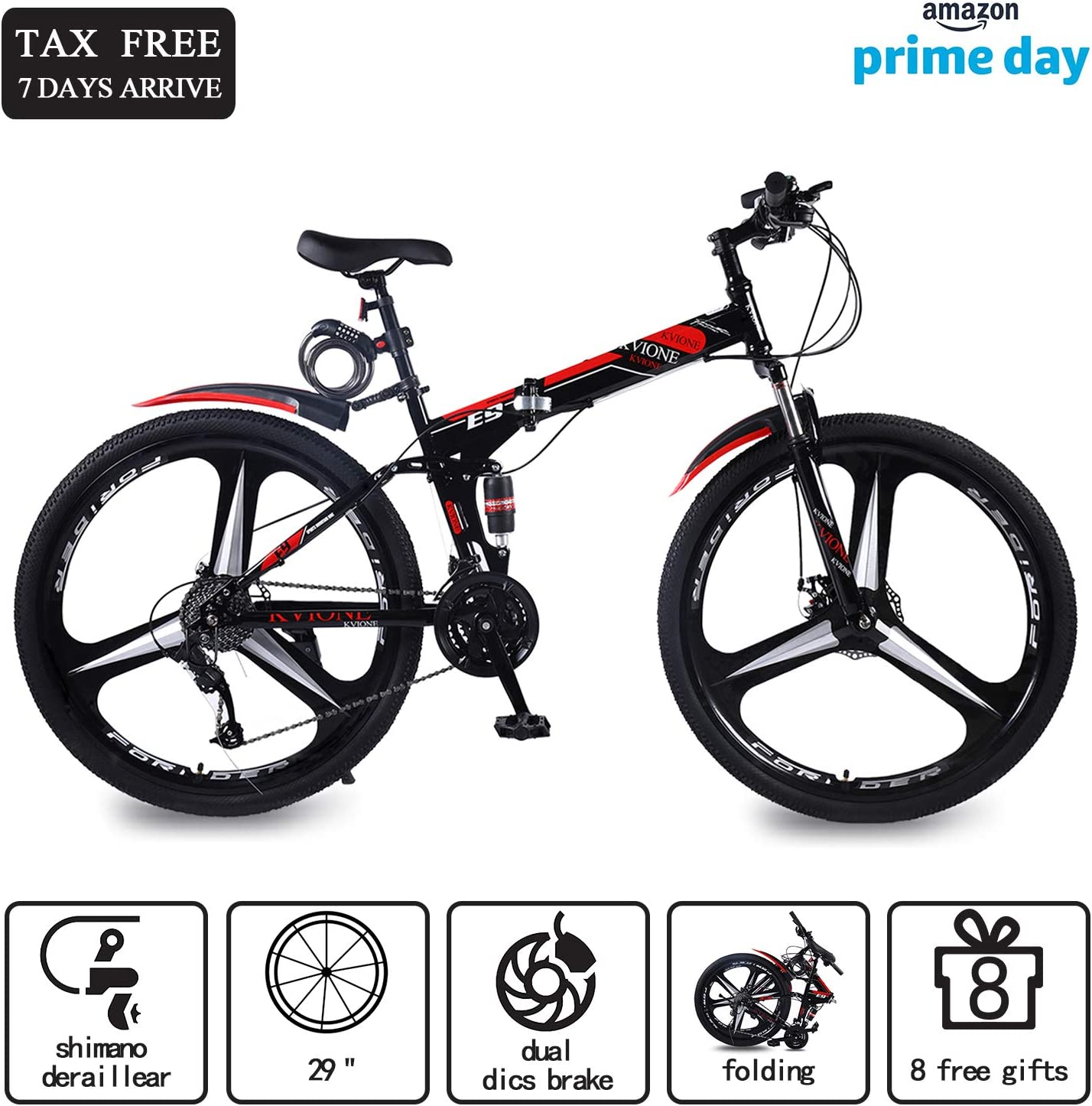 KVIONE E9 Bicicleta de montaña de 27 velocidades para Hombres y ...