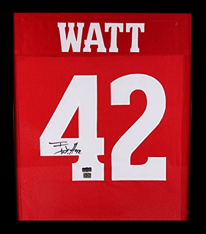 f25de8f76 T.J. Watt Autographed Signed Wisconsin Framed Red Custom Jersey at Amazon s  Sports Collectibles Store