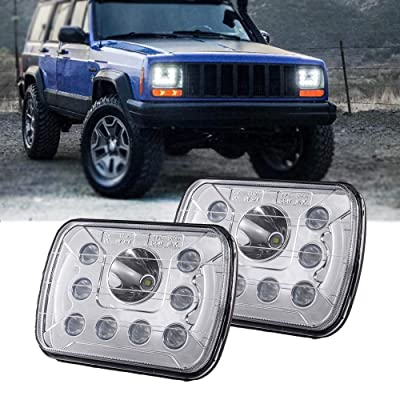 (Pair) 5''x7'' 6''x7'' High Low Beam Led Headlights for Jeep Wrangler YJ Cherokee XJ H6054 H5054 H6054LL 69822 6052 6053 with Angel Eyes DRL: Automotive
