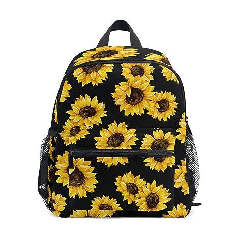 3bacb4167f99 Backpack Yellow Blooming Sunflowers Black Print School Bags Boy Girl Daypack