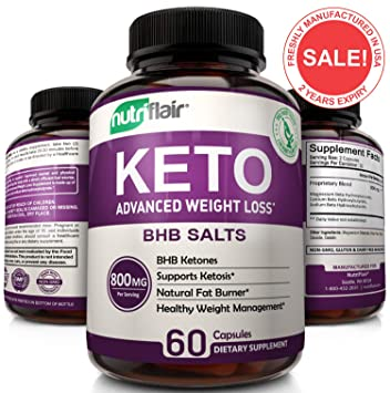 Keto Diet Pills - 800mg Advanced Weight Loss Ketosis Supplement -  All-Natural BHB Salts Ketogenic