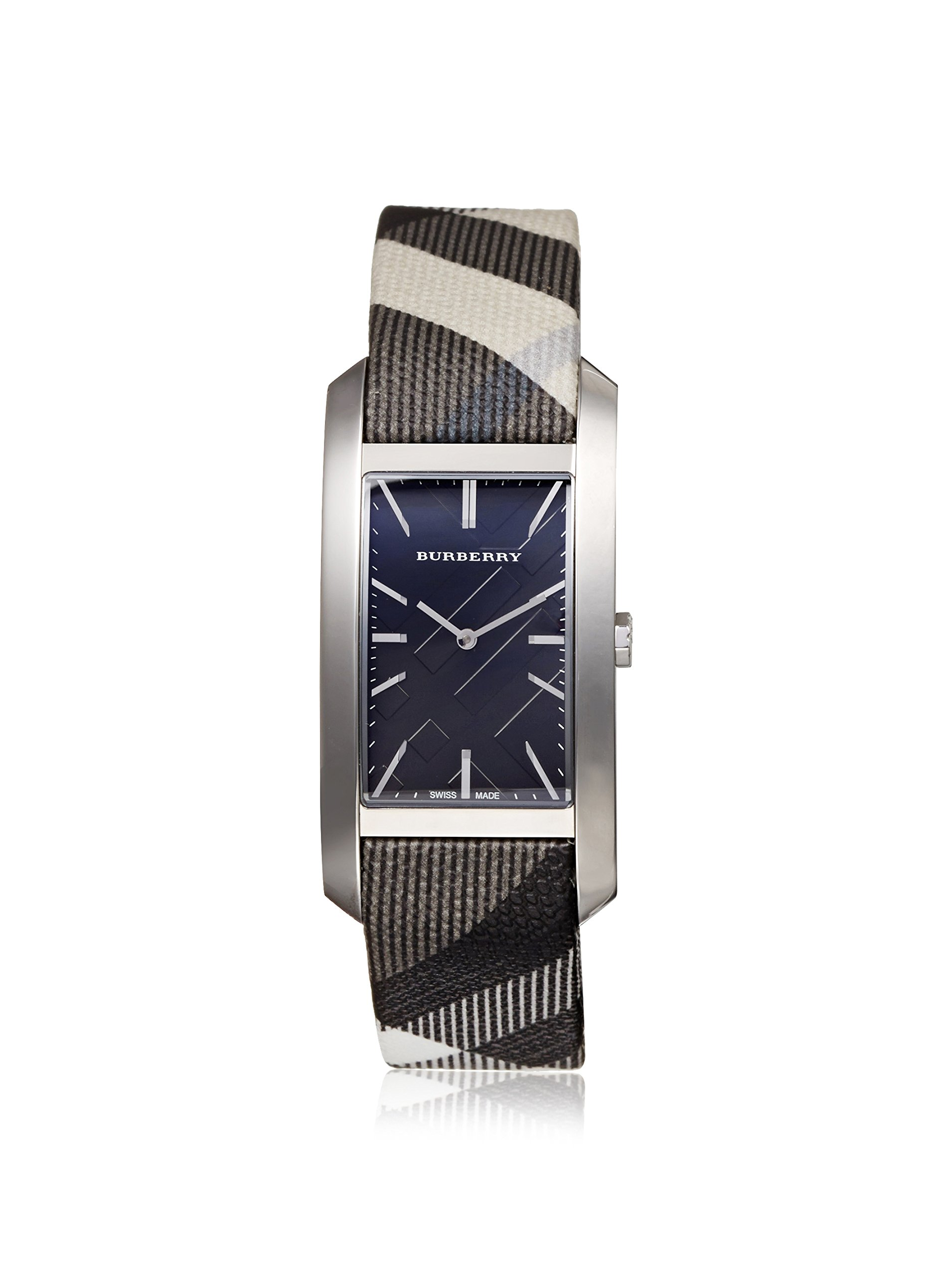 Burberry Women's Black/White Heritage Check Leather Strap Black Dial Rectangular Watch BU9405