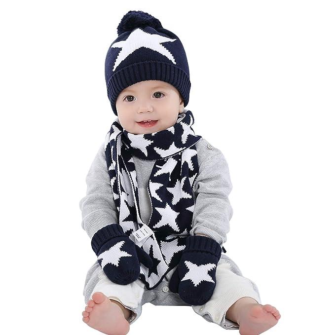 Estrellas Motivo gorro bufanda Guantes de punto 3pzs Conjunto Invierno Niños  Niñas 6 meses a 10 años Bebé Sombrero gorra pañuelo manoplas cálido   Amazon.es  ... 35acca8426a