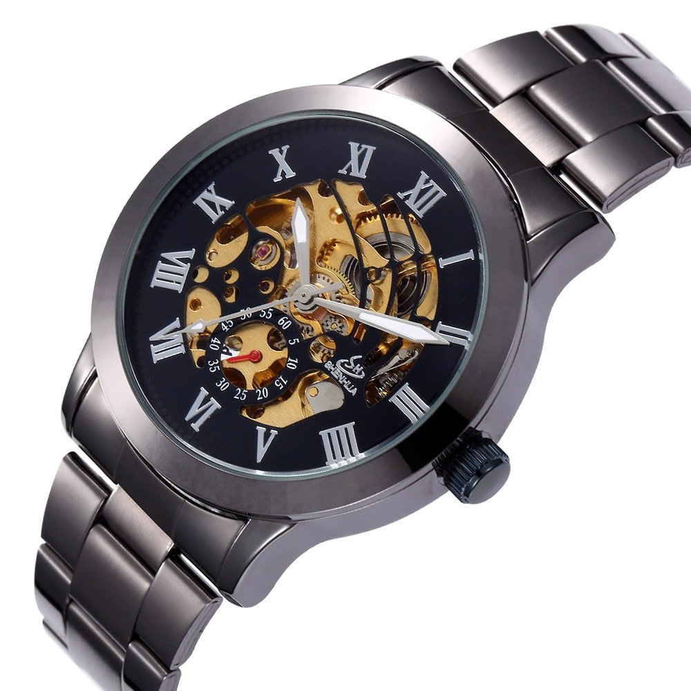 Amazon.com: Shenhua Watch Men Gold Automatic Mechanical Skeleton Watches Fashion Male Clock Roman Stainless Steel Wristwatch Reloj Hombre: Watches
