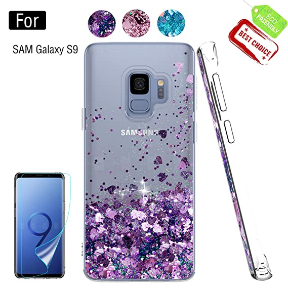 new concept 99f7f 7886c Galaxy S9 Phone Case,Samsung Galaxy S9 Cases with HD Screen Protector for  Girls Women, Luxury Glitter Quicksand Clear TPU Protective Phone Case Cover  ...