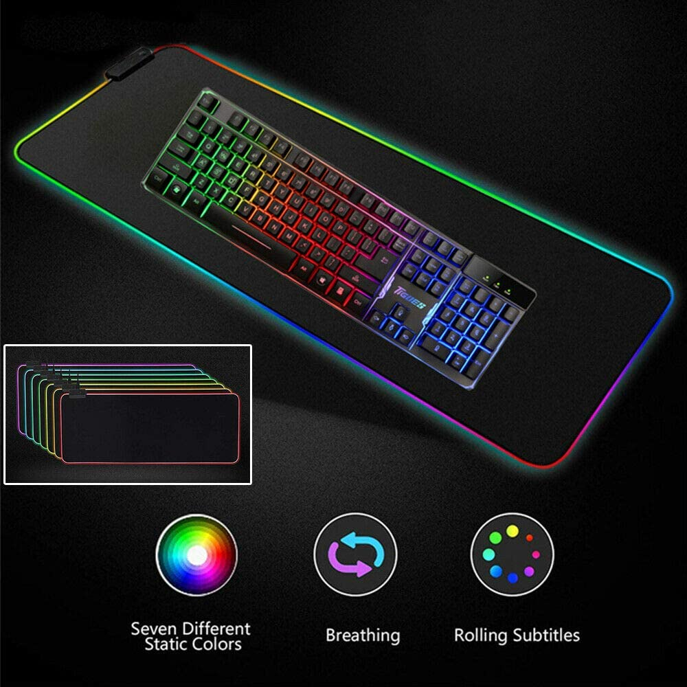 MeterMall Hot for RGB Colorful LED Lighting Gaming Mouse Pad Mat for PC Laptop 350x250mm