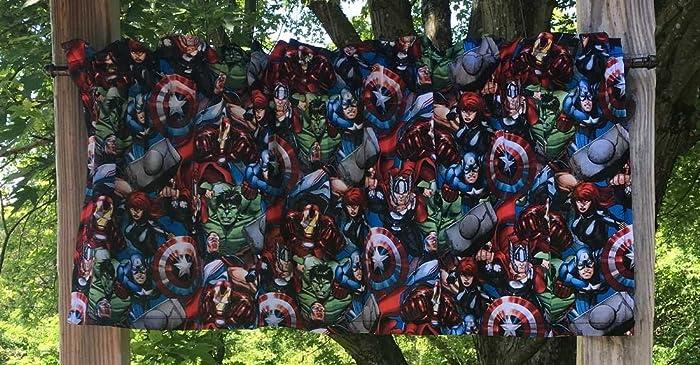 Hulk Iron Man Black Widow Captain America Handcrafted Cotton Valance Sewn From Avengers Fabric