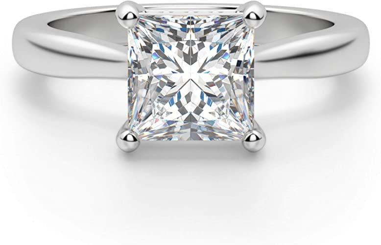 Sterling Silver   Ring For men and women Promise Ring Princess colorless Moissanite Engagement band Wedding Ring