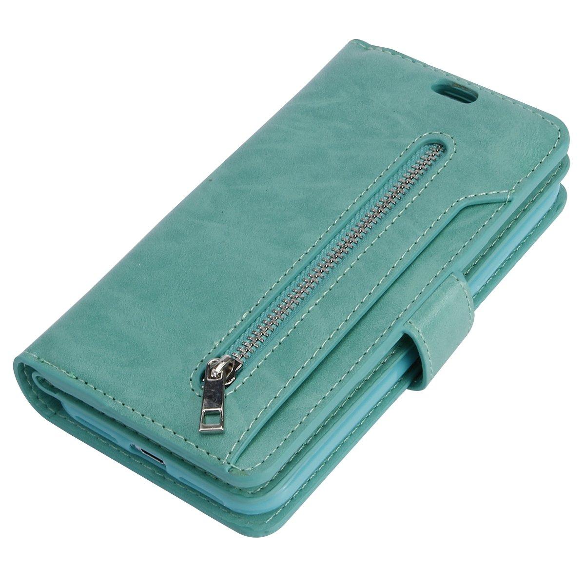 Lederh/ülle HandyH/ülle-Braun 9 Karten Slot Jinghuash Kompatibel mit iPhone X//XS H/ülle PU Leder Flip Case Brieftasche Ledertasche Tasche Klapph/ülle Multifunktionaler mit Rei/ßverschluss