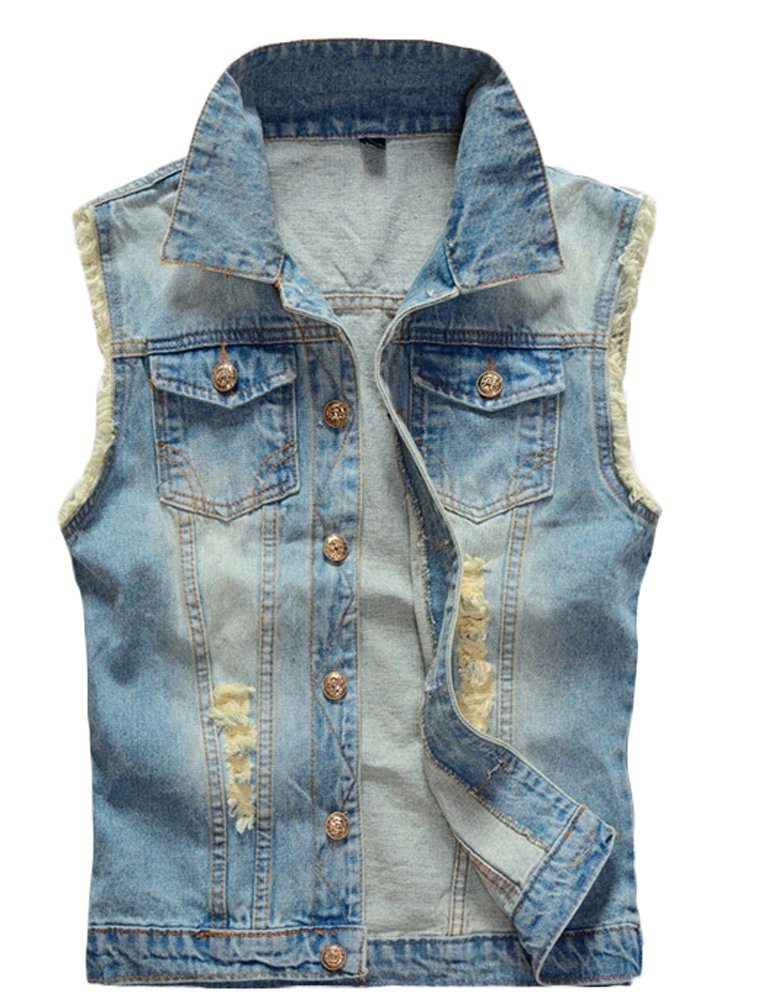 Lavnis Men's Sleeveless Denim Vest Casual Slim Fit Button Down Jeans Vests Jacket XL
