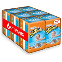 (Size 5-6 (6 Pack), 6 Packs) - Huggies Little Swimmers Disposable Swim Nappies, Size 5-6 - 66 Pants Total
