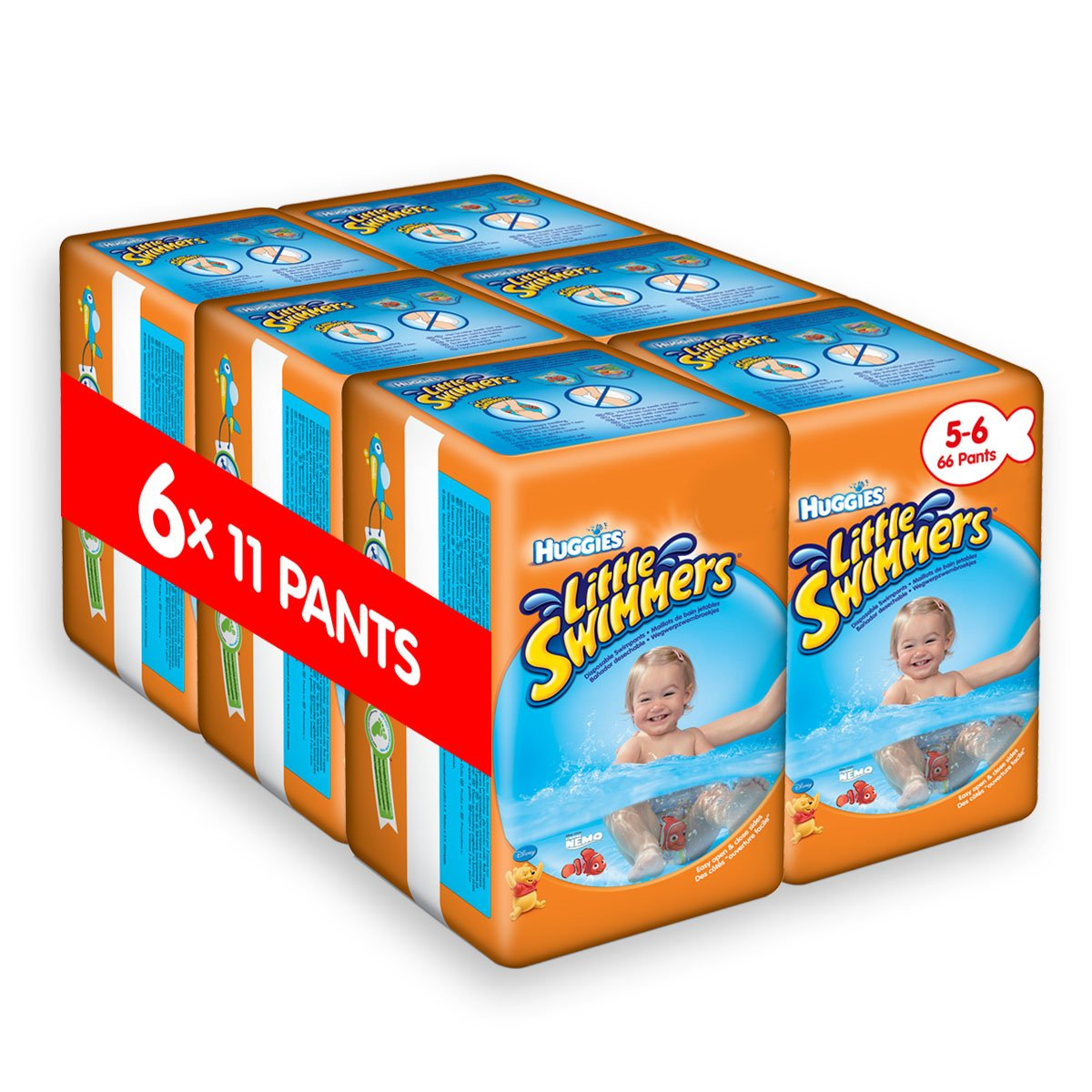 Huggies Little Swimmers Disposable Swim Nappies, Size 2-3 - 72 Nappies Total Kimberly Clark 2183381