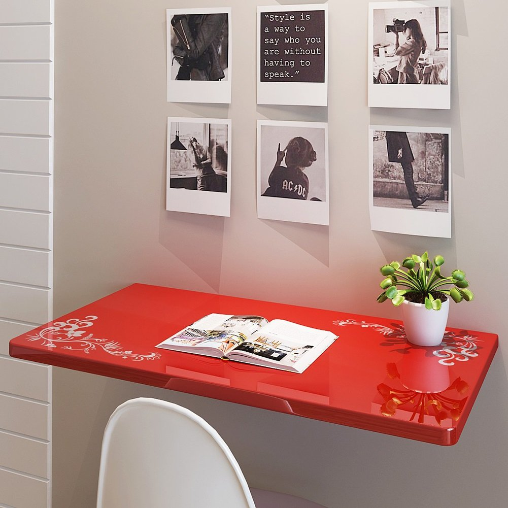 ZJM 壁掛け壁掛けドロップリーフテーブル折りたたみキッチンダイニングテーブルデスク赤い花 ( サイズ さいず : 100*50cm ) B0793KR898 100*50cm 100*50cm