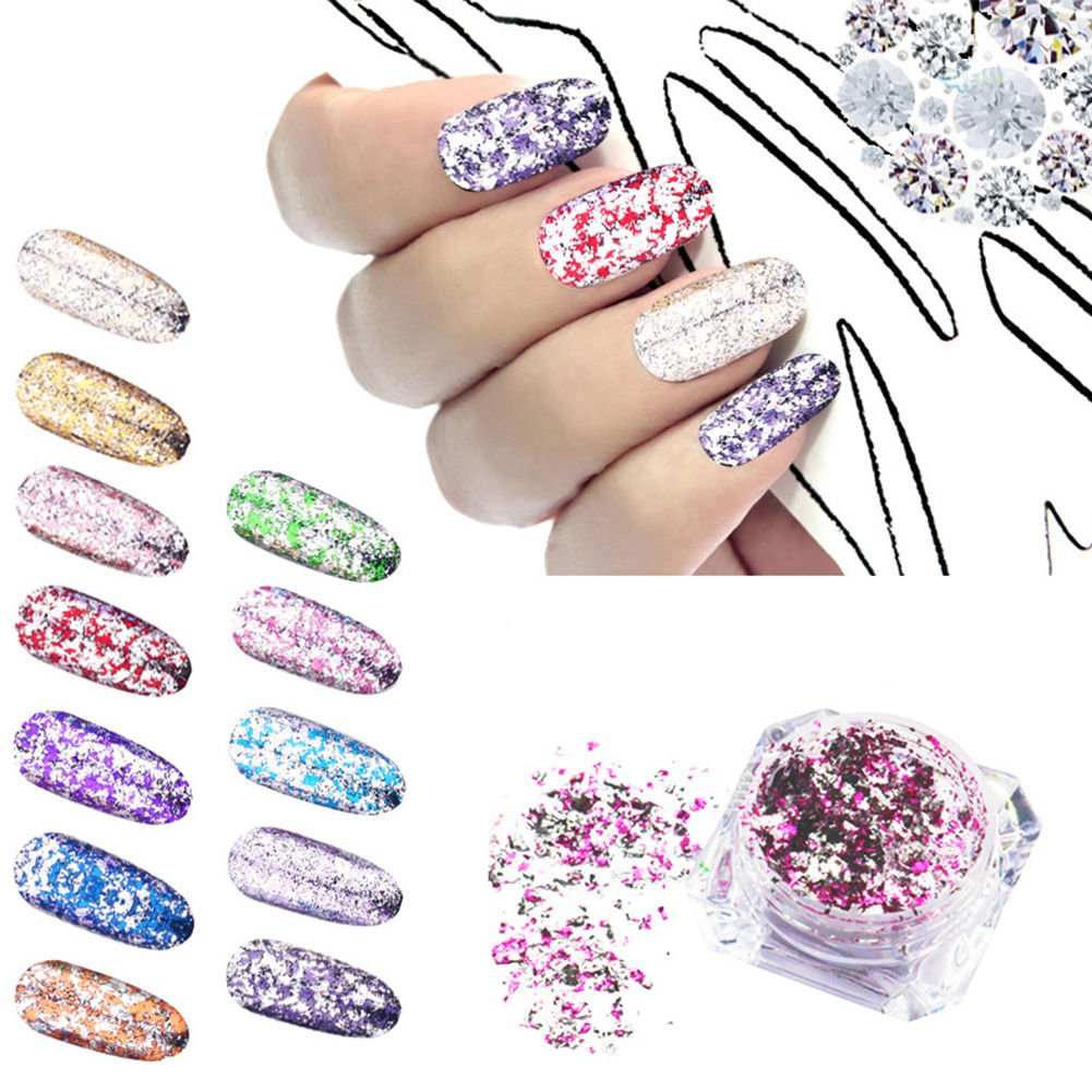 Nail Chrome Powder Aluminum Flakes Foil colorful Holographic Galaxy Glitter Magic Mirror Sequins Pigment DIY Sticker Manicure Decoration for 3D Nail Art (01-06 6colors) happy12