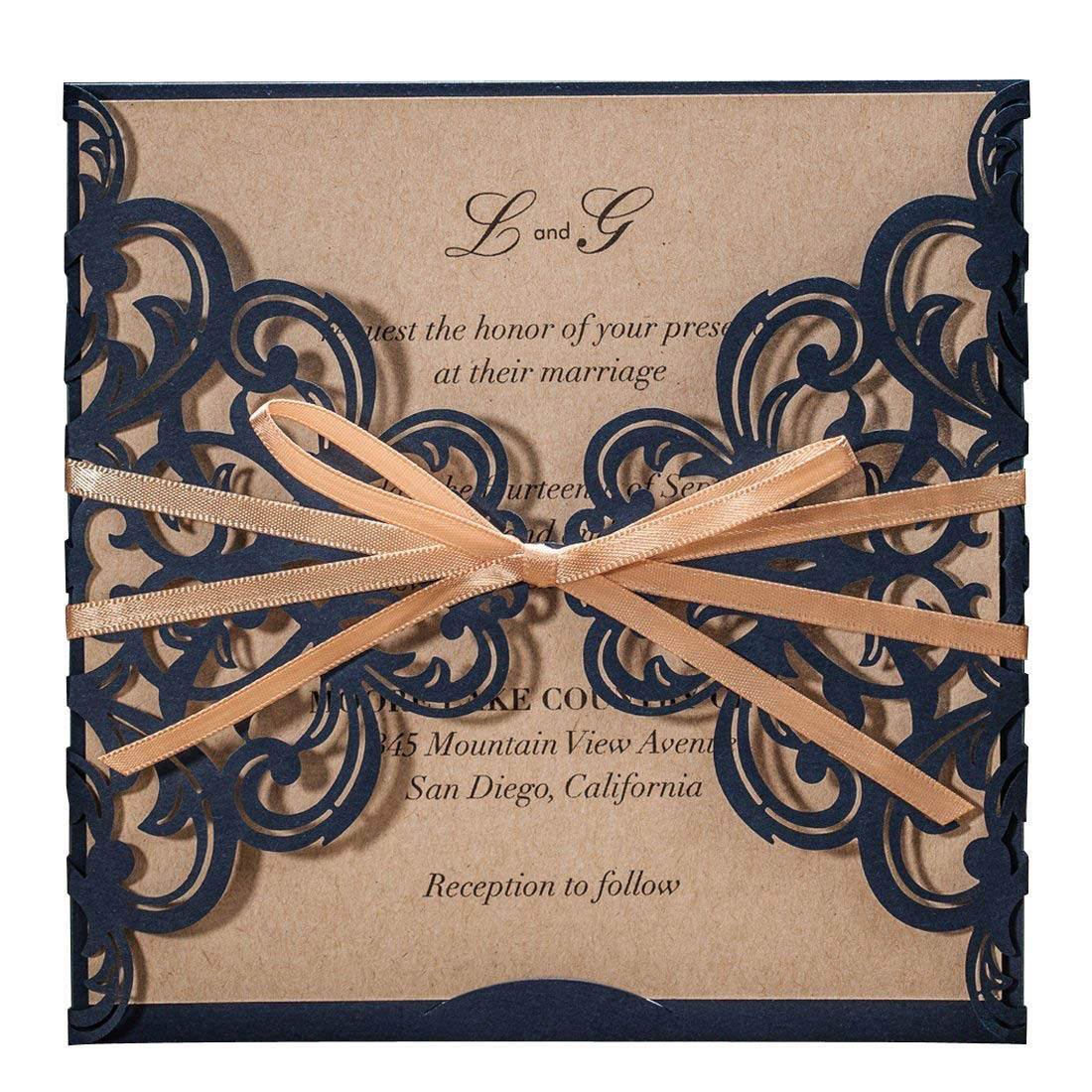 WISHMADE Navy Blue Rustic Square Laser Cut Wedding Invitations Cards with Bow Lace Sleeve Cards for Engagement Baby Shower Birthday Quinceanera (Set of 50pcs)