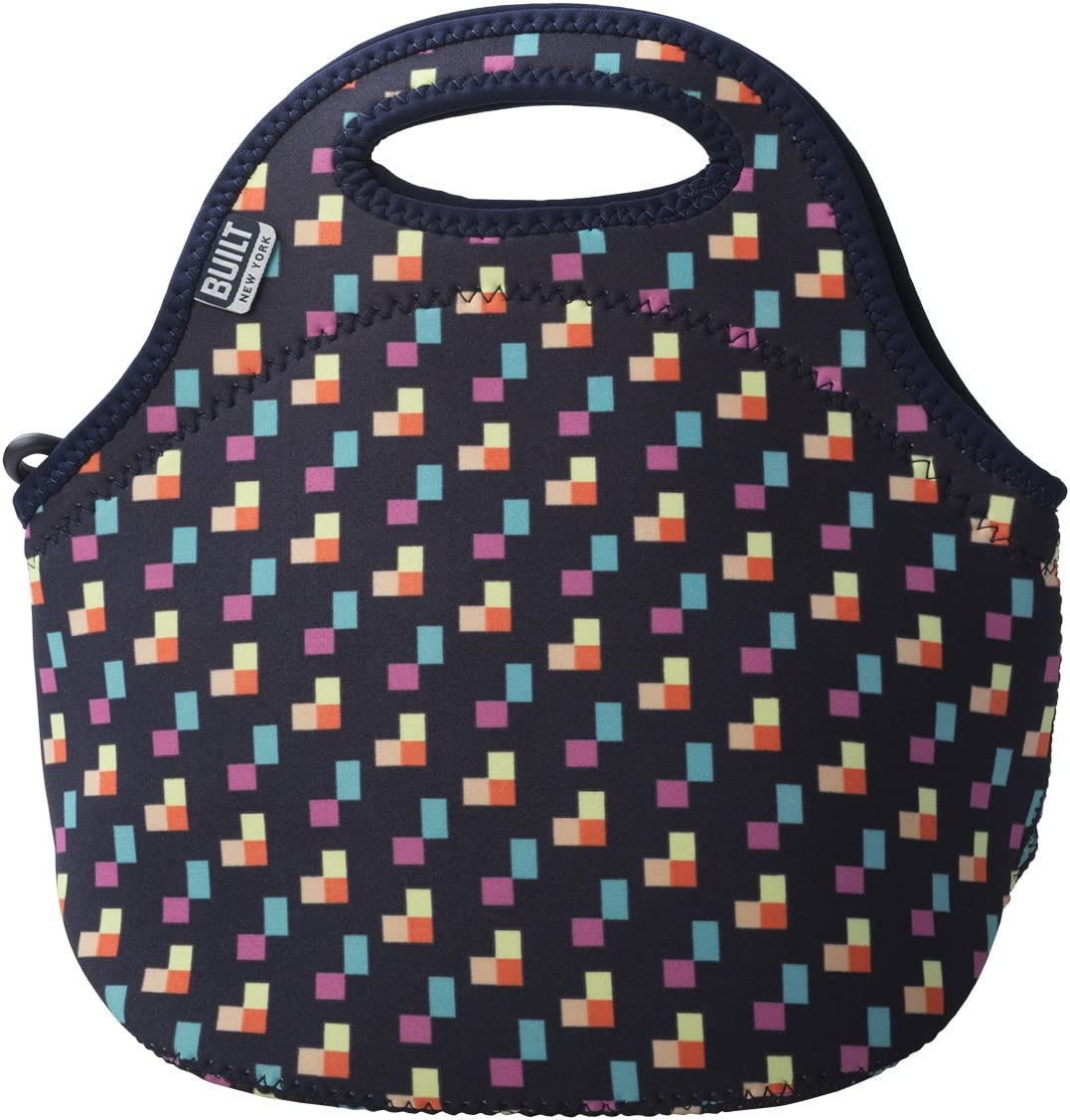 BUILT Gourmet Getaway Soft Neoprene Lunch Tote Bag - Lightweight, Insulated and Reusable, One Size, Pixel Confetti