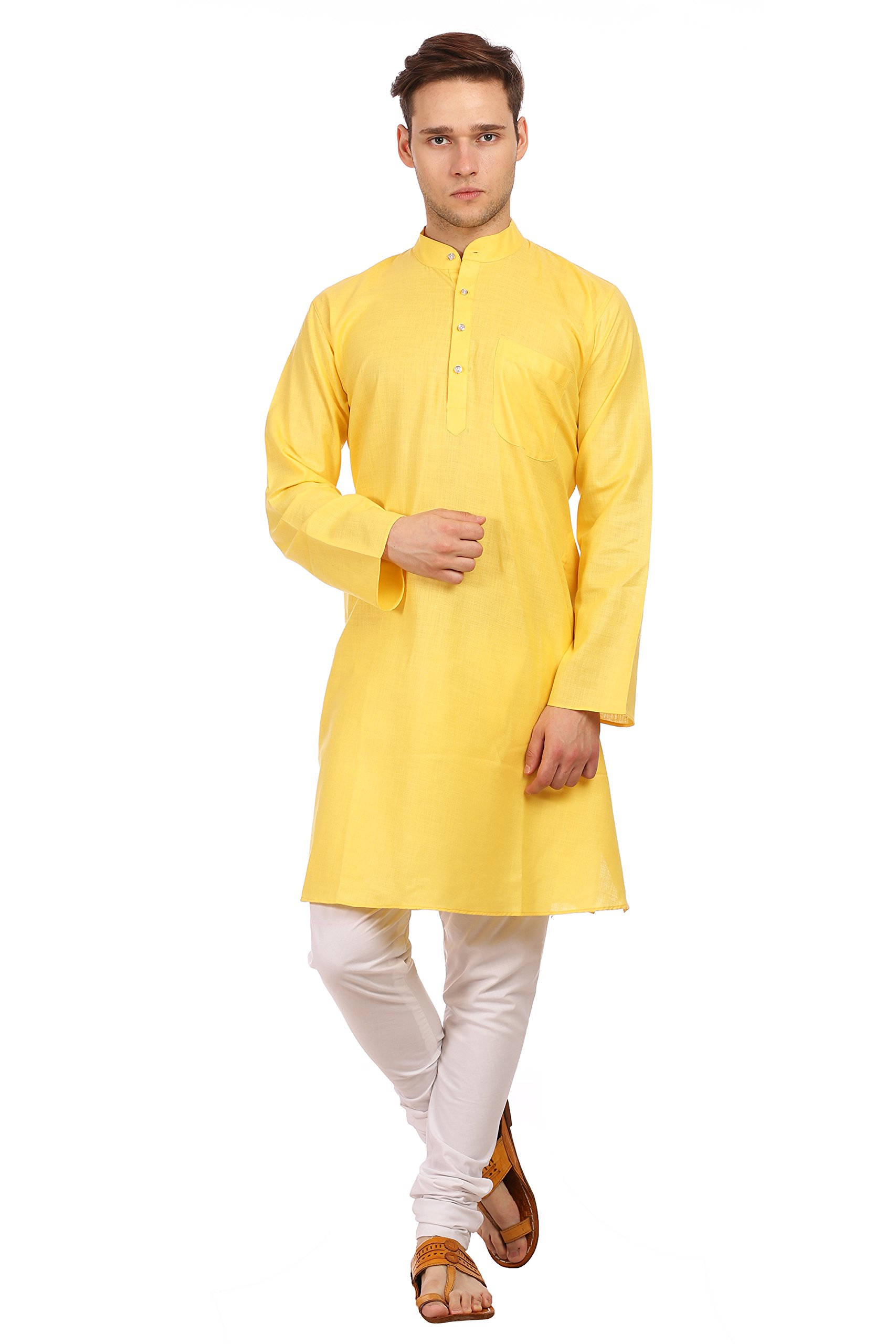 WINTAGE Men's Cotton Silk Festive and Casual Yellow Kurta Pyjama