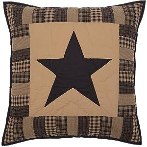 VHC Brands Primitive Bedding Black Check Star Quilted Euro Sham