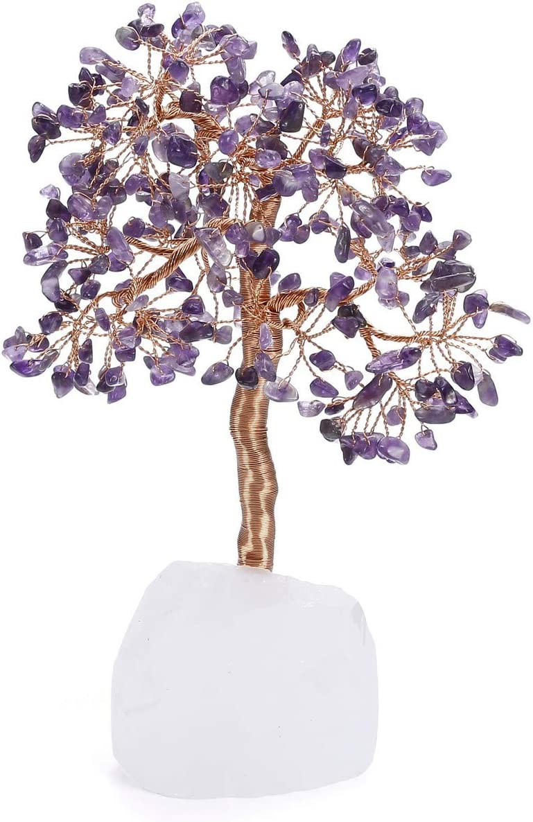 Jovivi Chakra Amethyst Crystal Money Tree Natural Healing Clear Quartz Base Bonsai Crystal Tree Ornament Home Office Desk Decoration for Feng Shui Wealth and Luck Gifts