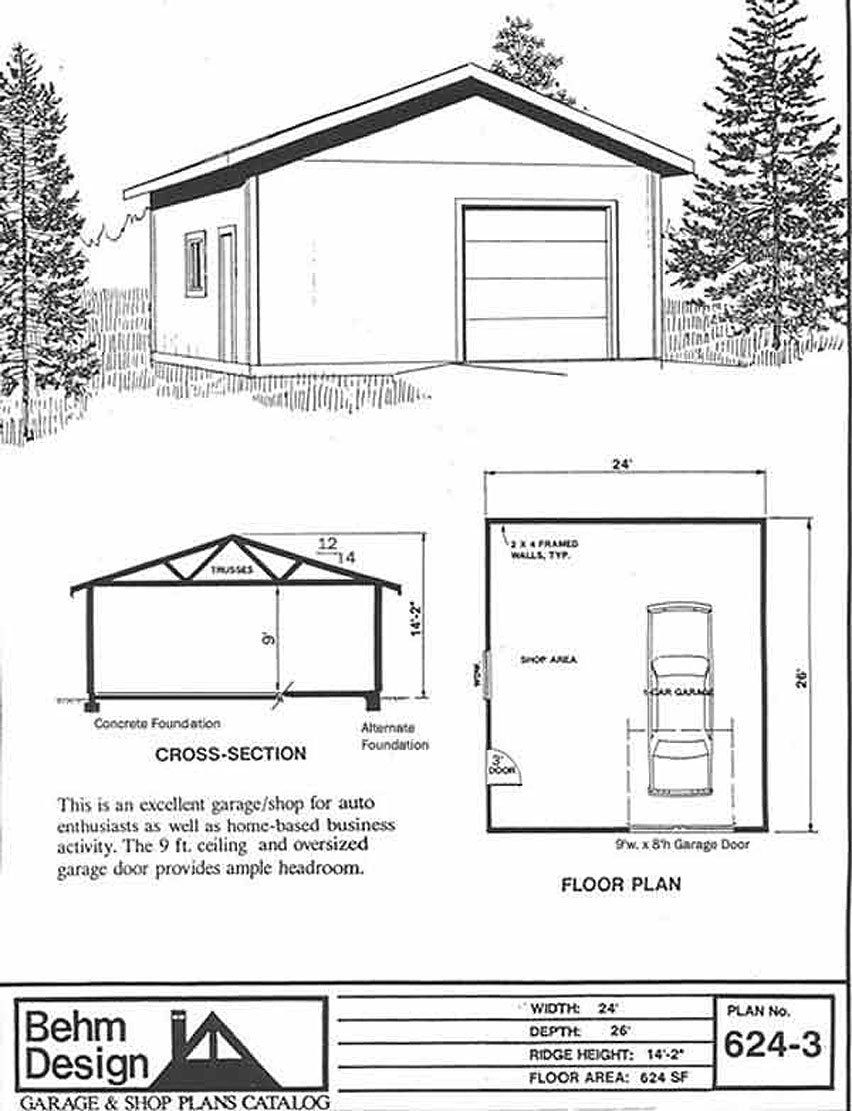 garage plans 1 car garage with shop plan 624 3 24 u0027 x 26 u0027 one