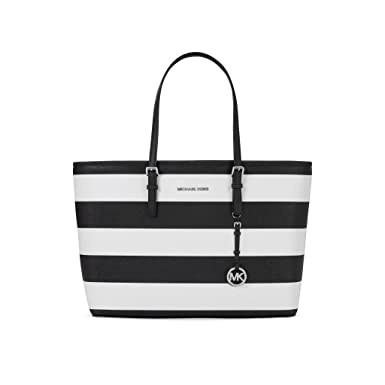 803a5380c702 Amazon.com: Michael Kors Jet Set Saffiano Leather Travel Macbook Tote Black  White: Clothing
