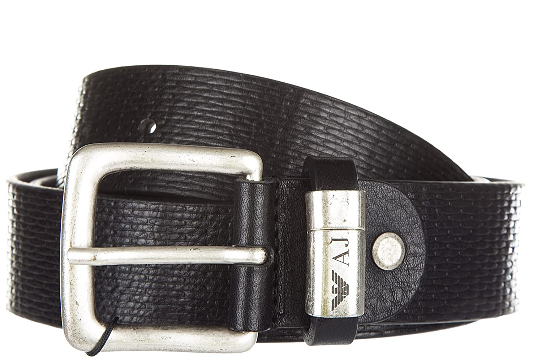 Armani Jeans cinturón de hombre en piel nuevo ardiglione negro  Amazon.es   Zapatos y complementos 023480cee480