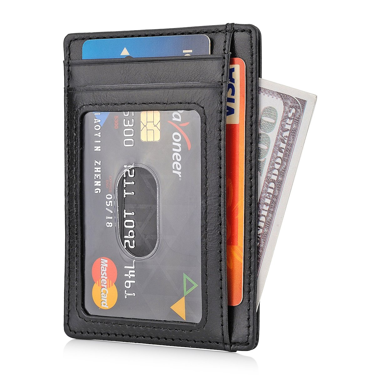 GH GOLD HORSE Slim RFID Blocking Card Holder Minimalist Leather Front Pocket Wallet for Women (Black) by GH GOLD HORSE (Image #2)