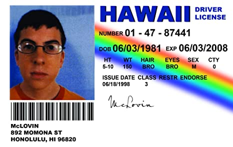 Cards Superbad com Automotive Novelty Alg Replica Mclovin Driving Id License Amazon