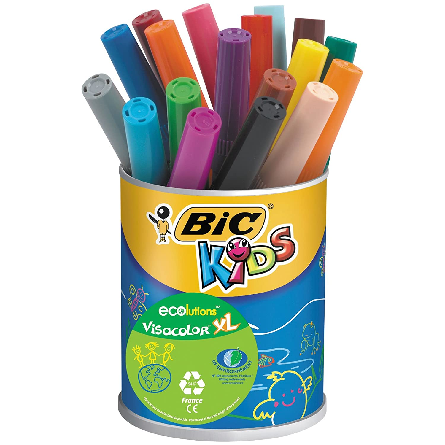 BIC Kids Visacolor XL Ecolutions Feutres de Coloriage - Pot de 18 892224