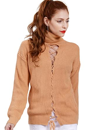 Wink Gal Women s Loose Turtelneck Long Sleeve Lace Up Knit Pullover Sweater  Top Pink S 75130ab45