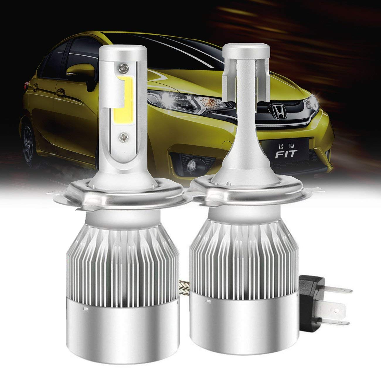 Mesllin H3 LED Headlight Bulbs 2 Yr Warranty COB Chips Auto Headlamps Conversion Kits Replacement for Car Halogen HID Xenon 120W 20000LM 6000K White Bulbs H3