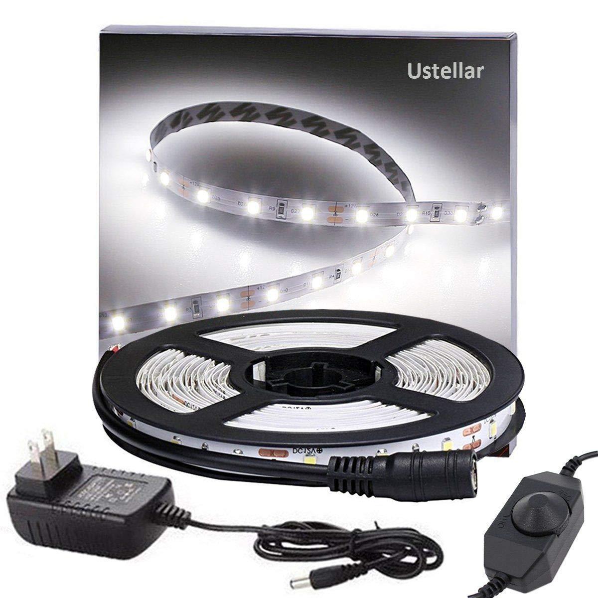 Ustellar Dimmable LED Light Strip Kit, 300 Units SMD 2835 LEDs, 16.4ft/5m 12V LED Ribbon, 6000K Daylight White Under Cabinet Lighting Strips, Non-waterproof LED Tape, UL Listed Power Supply UT33301-DW-NF-B