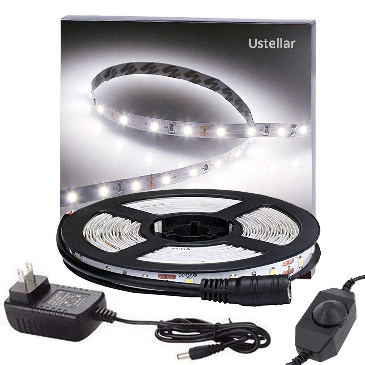 Ustellar Dimmable LED Light Strip Kit, 300 Units SMD 2835 LEDs, 16.4ft/5m 12V LED Ribbon, 6000K Daylight White Under Cabinet Lighting Strips, Non-waterproof LED Tape, UL Listed Power Supply