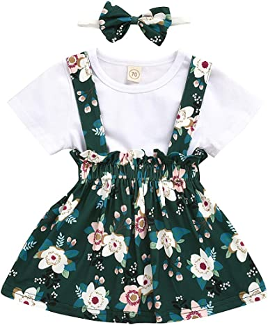 Rabbit Print Floral Suspender Skirt Tutu Dress Outfits Toddler Baby Girl Clothes Skirt Set Ruffle Sleeves Top