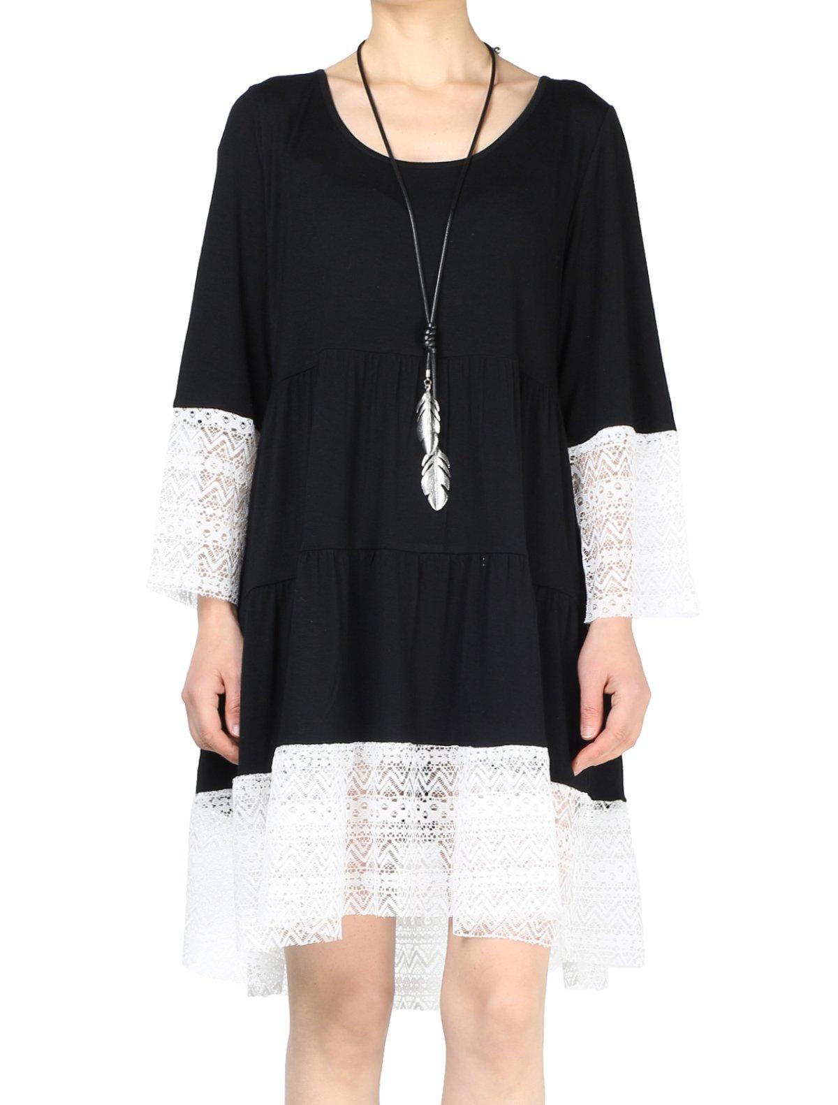 Mordenmiss Women's Flared Tunics Dress Lace Trim Boho Shirts Side Pockets XL Black