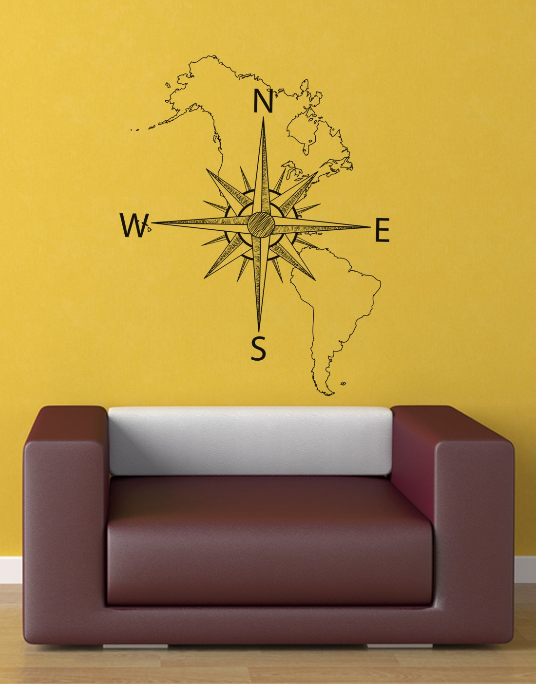 Amazon.com: Stickerbrand Vinyl Wall Art Map of North & South America ...