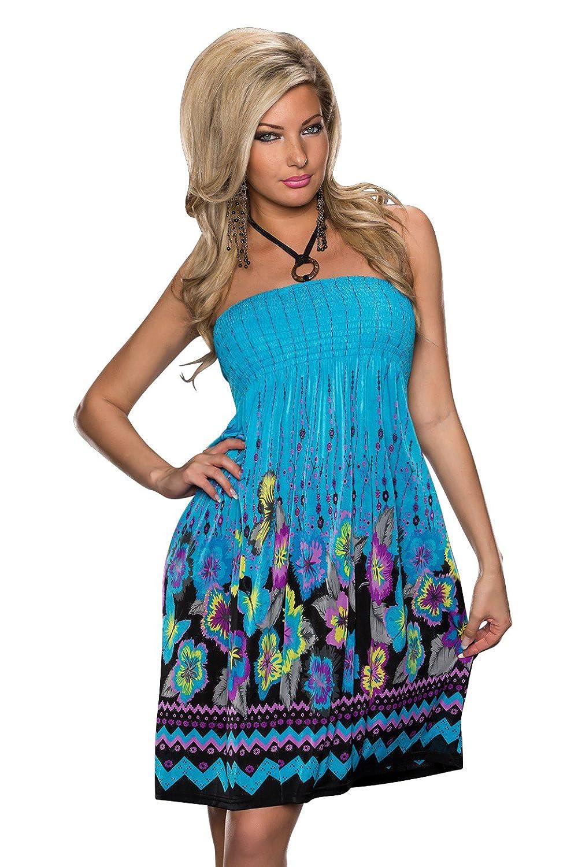 5065 Fashion4Young Damen Neckholder-Minikleid Sommerkleid ...