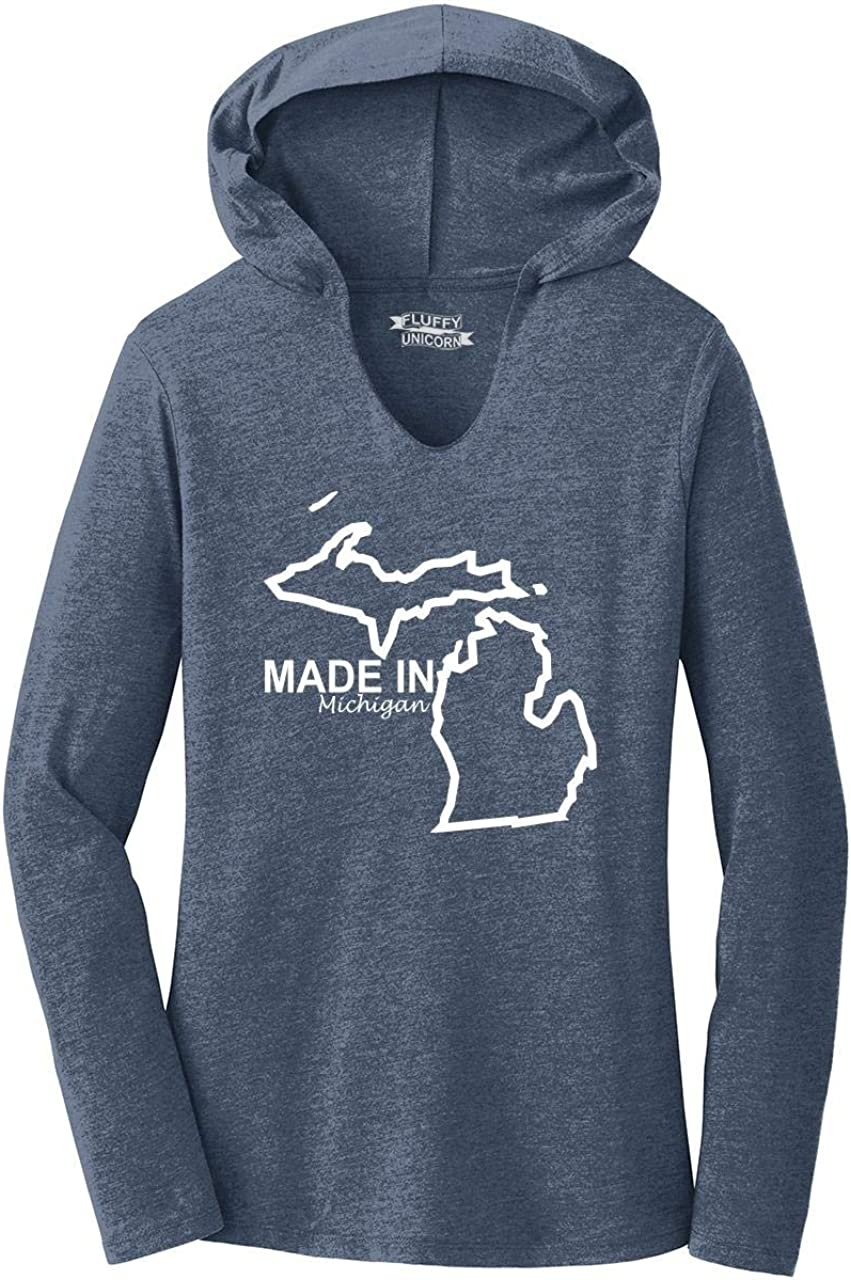 Comical Shirt Ladies Made in Michigan Cute Home State Pride Tee Hoodie Shirt