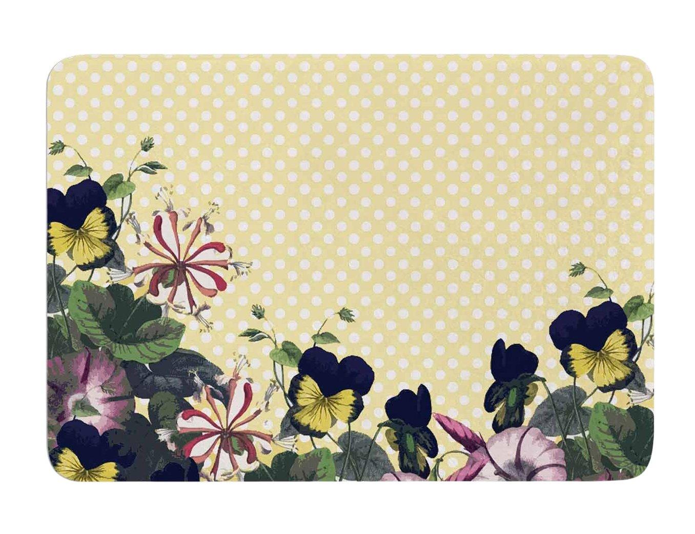 Kess InHouse Alison Coxon Polka Dot Purple Yellow Memory Foam Bath Mat 24 by 36-Inch 24 X 36