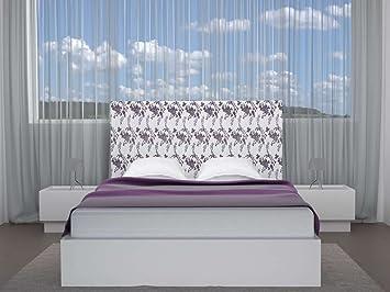 Cabecero tapizado Floral (Cama 160) 170 x 70 cms. Color: Blanco-Morado: Amazon.es: Hogar