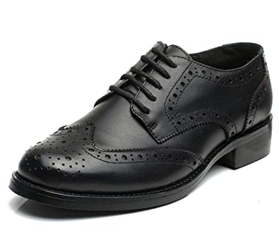 U lite Women's Perforated Lace up Wingtip Leather Flat Oxfords Vintage Oxford Shoes Brogues